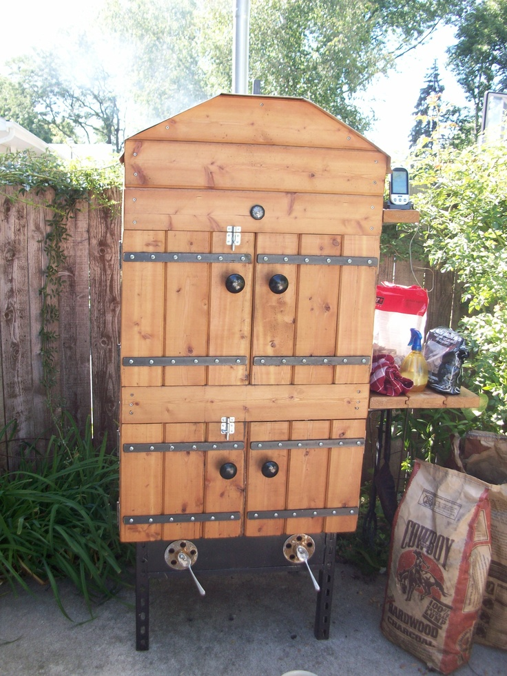 Homemade smoker doing its thing smoker pinterest for Best wood for building a house