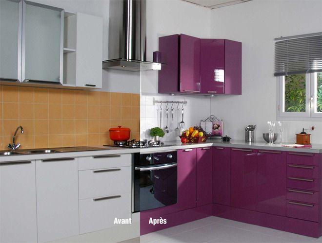 Déco intérieur Pourpre  repeindre meuble cuisine avec