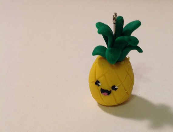 This is so adorable and kawaii ! Pineapple Clay Charm by BlueBumbershoot on Etsy, $5.00