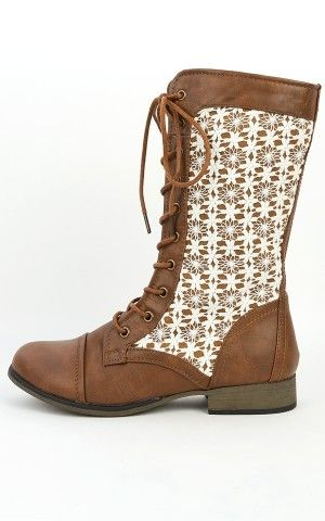 Chapter-31 Tan Beige Lace Overlay Combat Boots | MakeMeChic.com