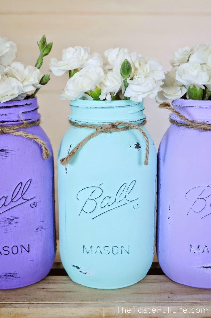 die besten 25 chalk painting mason jars ideen auf pinterest einweckgl ser streichen. Black Bedroom Furniture Sets. Home Design Ideas
