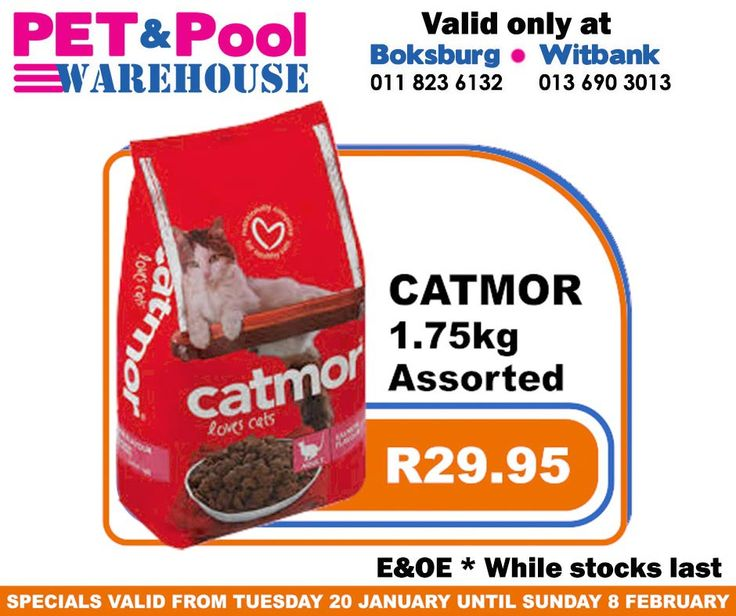 Great saving at Pet & Pool Warehouse Boksburg and Witbank, such as assorted Catmore 1.75kg cat food only R29.95. Specials are valid from 20th of January 2015 until 8th of Febuary 2015. While Stocks Last *E&OE