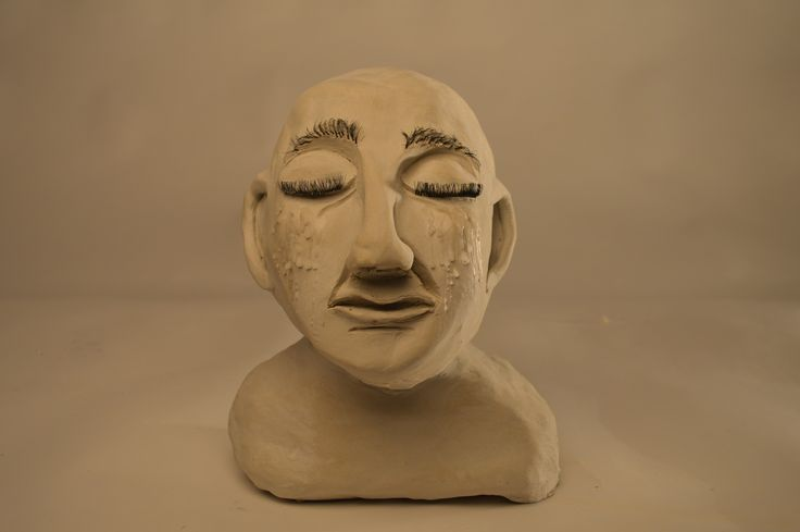 3D clay sculpture photo shoot Emotionally upset man no mask
