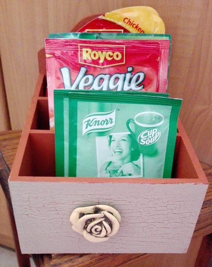 Sauce / Soup holders - store all in one place.  Fits nicely into any cupboard space.