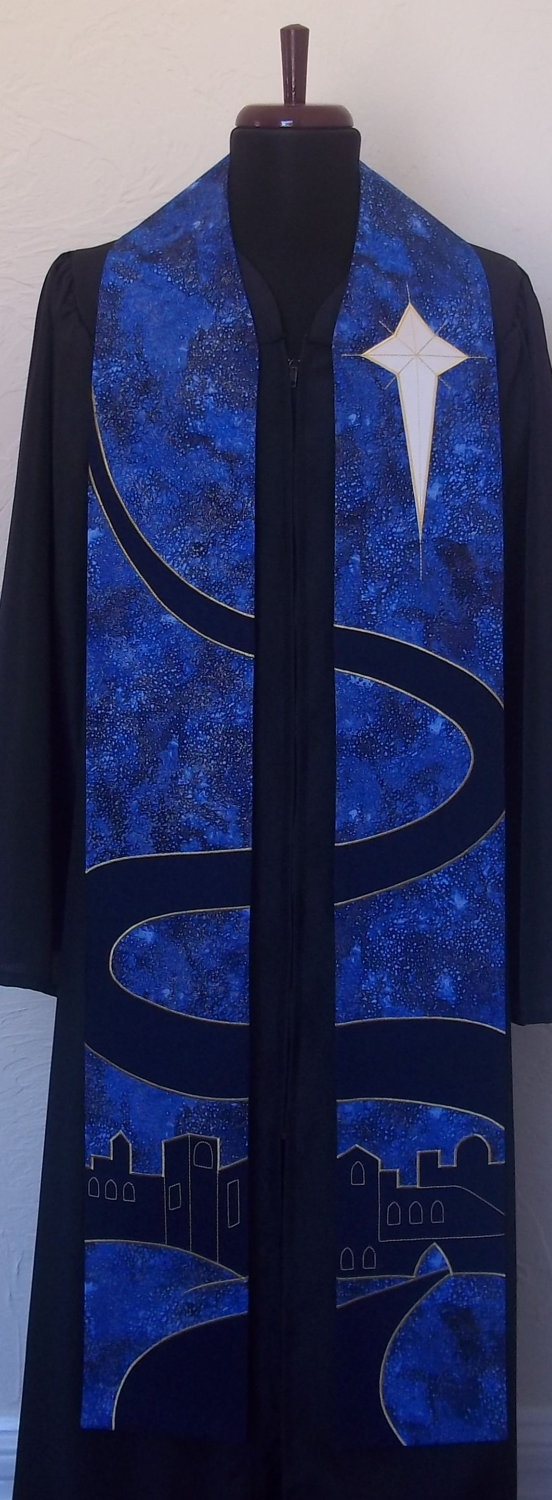 "Blue Clergy Stole for Advent Season--Bethlehem Road Design--46"" Length--Available for Immediate Shipping. $260.00, via Etsy."