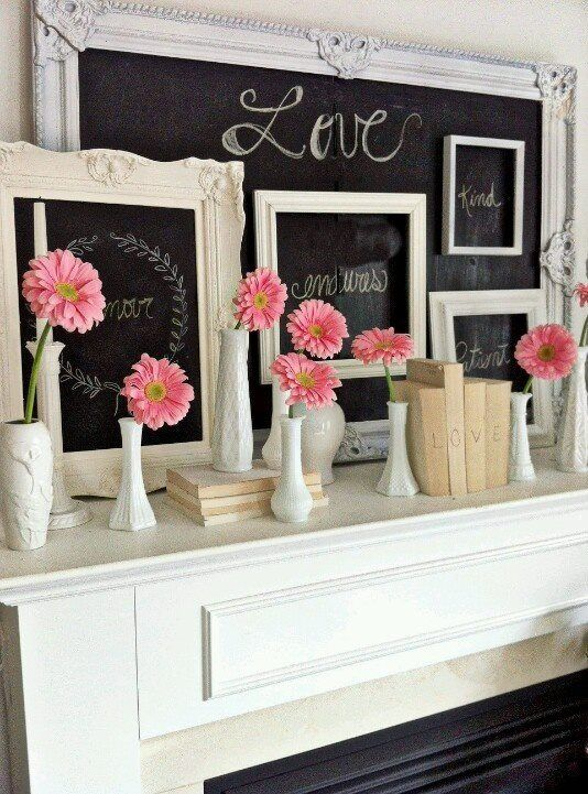 Valentine's day vignetteValentine'S Day, Gerber Daisies, Frames Chalkboards, Big Chalkboards, Decor Ideas, Chalkboards Mantels, Chalkboards Painting, Valentine Day, Chalk Art