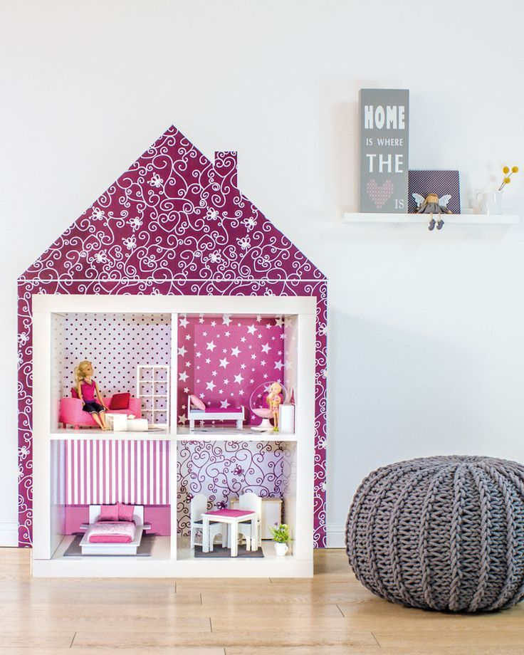 ikea bookshelf with paper background dollhouse