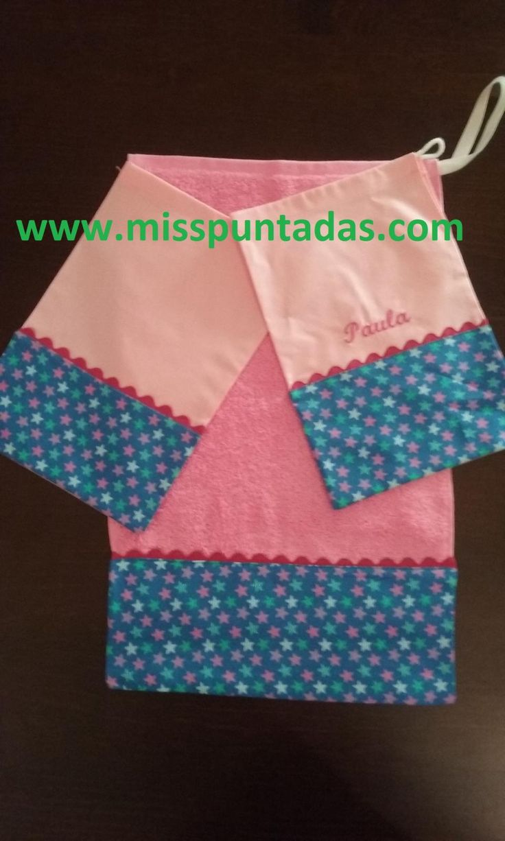 Toalla y bolsa de merienda. Toalla escolar  Medidas 50 cm. x 30 cm.  Toallas 100% algodón  Bolsa de merienda 20 x 30cm.  Producto hecho en España.