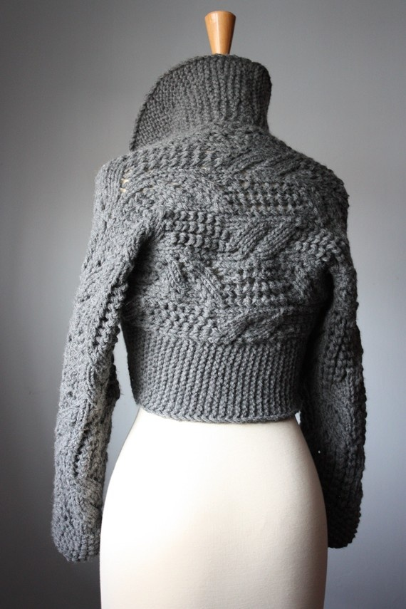 Chunky leafy handknit shrug / bolero / sweater lace Oxford Grey / dark gray classic by Vital Temptation