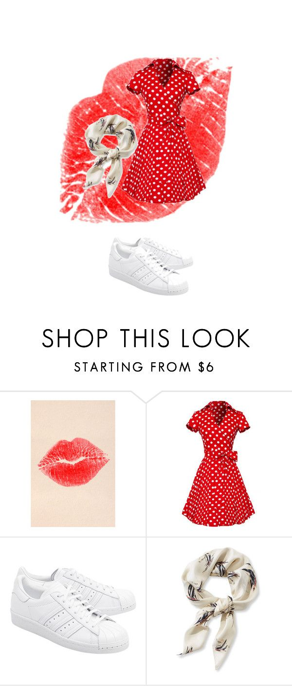 """Red: Grease style"" by mariapizzuto on Polyvore featuring moda, NYX, adidas Originals e L.L.Bean"