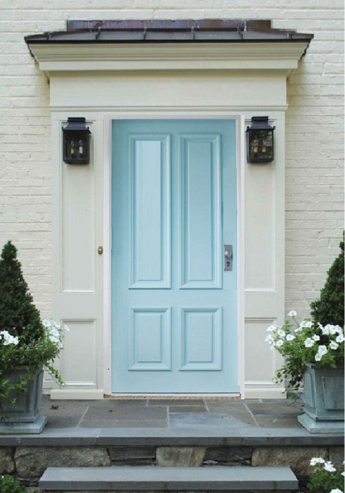 Pearl White Brick Amp Trim With Baby Blue Door Exterior