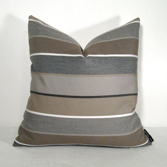 Brown Amp Grey Striped Outdoor Pillow Cover Decorative