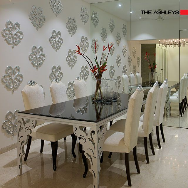 The Fusion of contemporary and Indian in this classic luxury dining table adds a very subtle look to the whole place. #TheAshleys #Contemporary #Classic