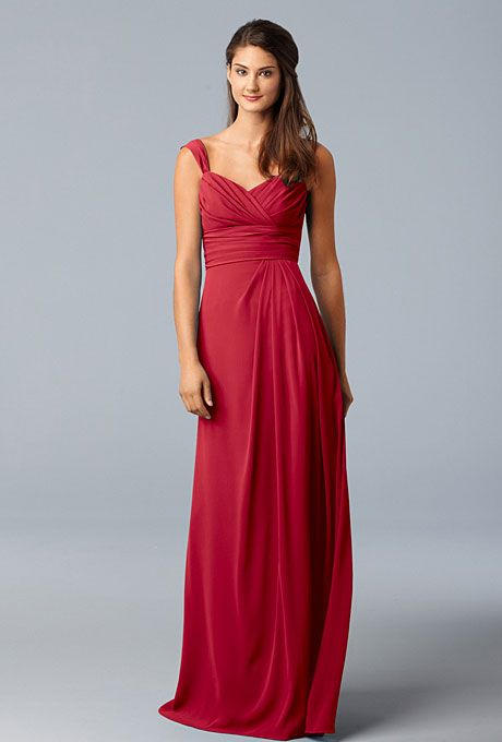 Wtoo. Red Bridesmaid Dress: WtooFull-length sweetheart dress, style 788, $214, WtooSee more Wtoo bridesmaid dresses.Shop this look at Weddington Way.Featured In: WtooPhoto:  Courtesy of Wtoo
