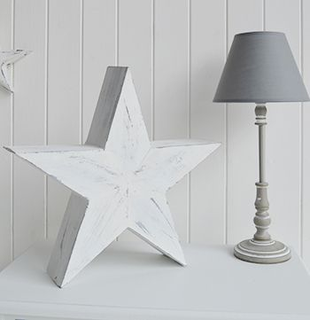White and grey home accessories, large white star is a perfect gift for a shabby chic home from The White Lighthouse