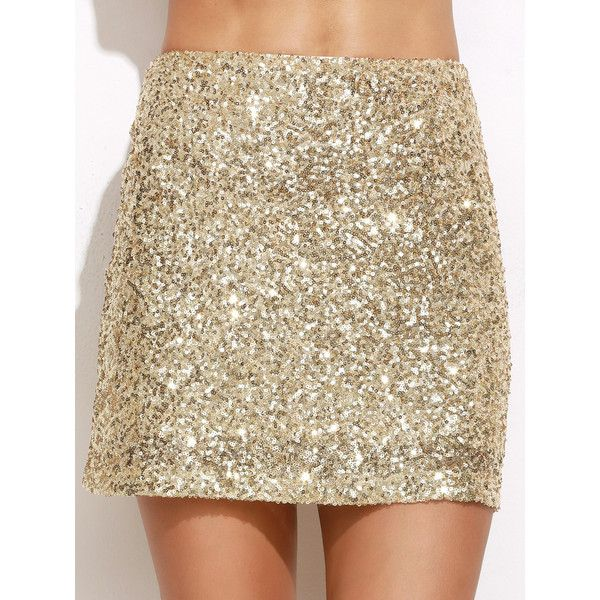 SheInsheinside Gold Embroidered Sequin Mini Skirt 9 Liked On Polyvore