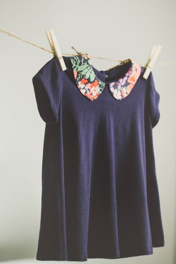 navy peter pan collar top with floral accent pattern by littlekind