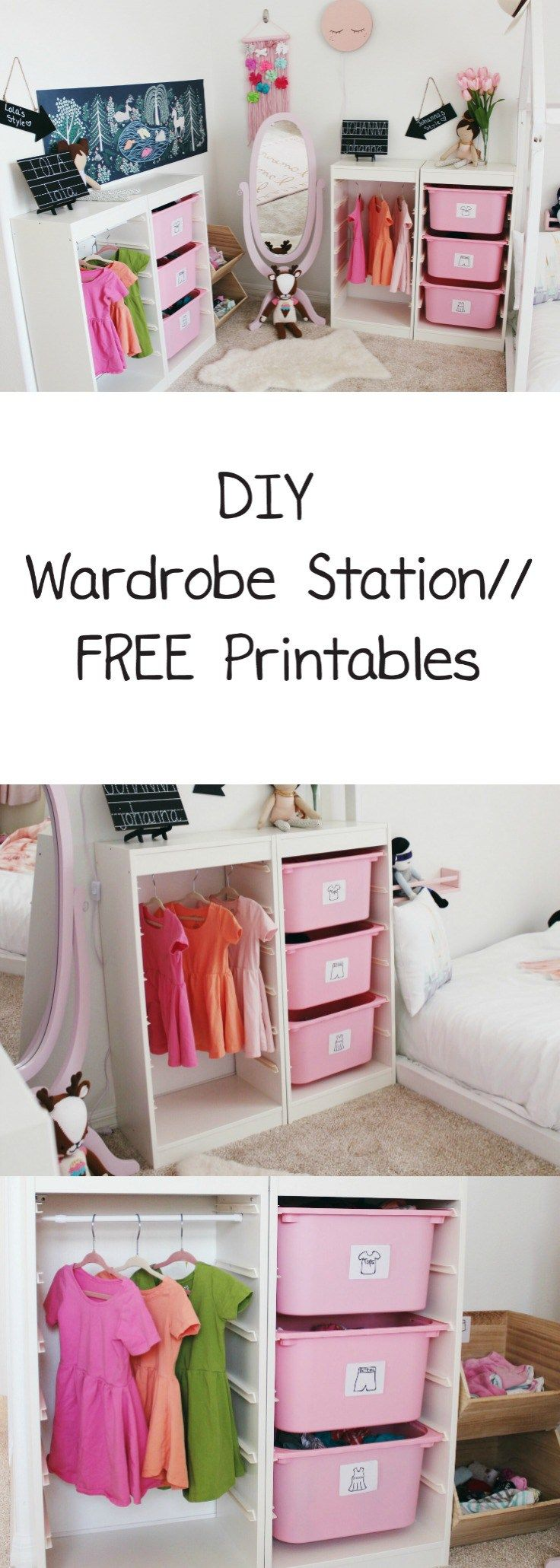 FREE PRINTABLE - Organize Your Child's Clothes With This DIY Wardrobe Station / Montessori wardrobe, ikea hack, trofast hack, life hacks, mom life hacks, toddler clothing organization, organize toddler clothes, how to organize toddler clothes, how to organize children's clothes, shared bedroom clothing organization, children's wardrobe station, dress up station, clothing organization for kids, free clothing prinatbles, DIY clothing station for kids, print outs clothes