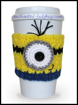 Free Crochet Minion Coffee Cup Cozy pattern by The Enchanted Ladybug