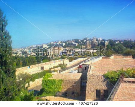Jerusalem street landscape. Israel. Digital Illustration. Hand Drawn. Oil Painting. Yemin Moshe is an extension of Mishkenot Shaananim also built by Moses Montefiore. Yemin Moshe Landmarks. Art, Print