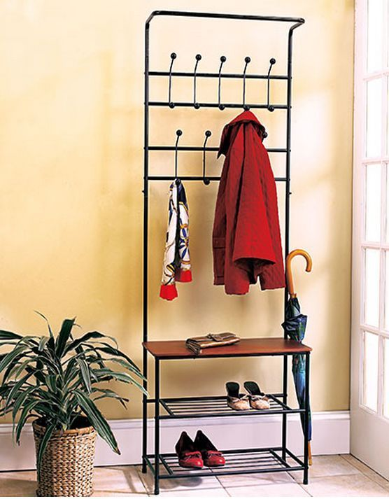 Hall Tree Coat Rack Bench Shelf Shoes Entryway Organizer Metal Wood Modern New Mystery House