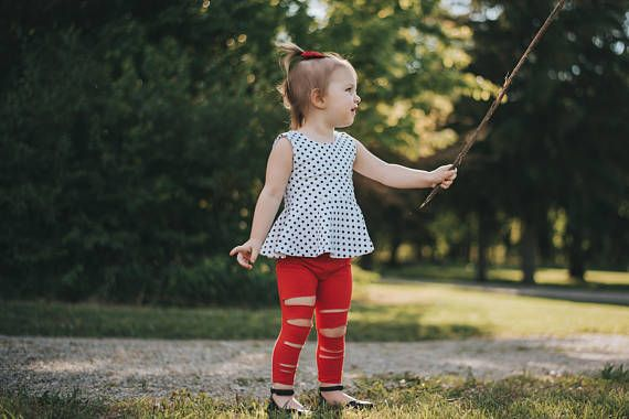 Red Leggings // Ripped Girls Red Sparkle Pants // Baby Girl