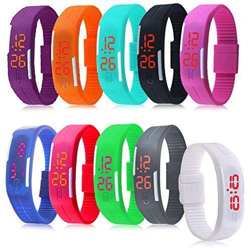 Padgene® Lot de 10 pièces Montre Bracelet Plusieurs Couleurs LED Numérique Silicone Sport Montre Rubber Date Femmes Hommes Unisexe