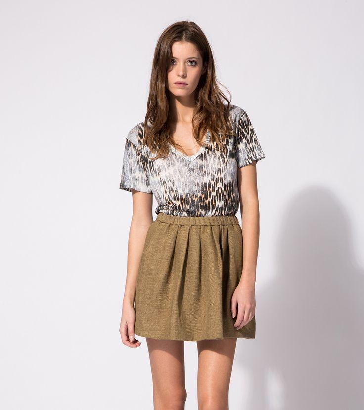 maje TUINA Leopard-print linen T-shirt at Maje US