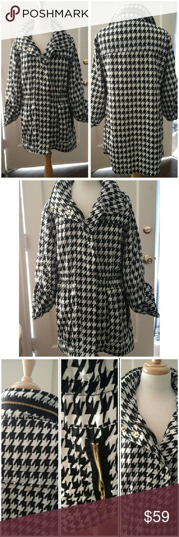 """Fab Jacket! This is so adorable! Size large.  Black an White pattern. All weather jacket, gold hardware with hidden hood.  Solid white lining. Length approx 31"""".New with out tags. Thanks! Casablanca Jackets & Coats Utility Jackets"""