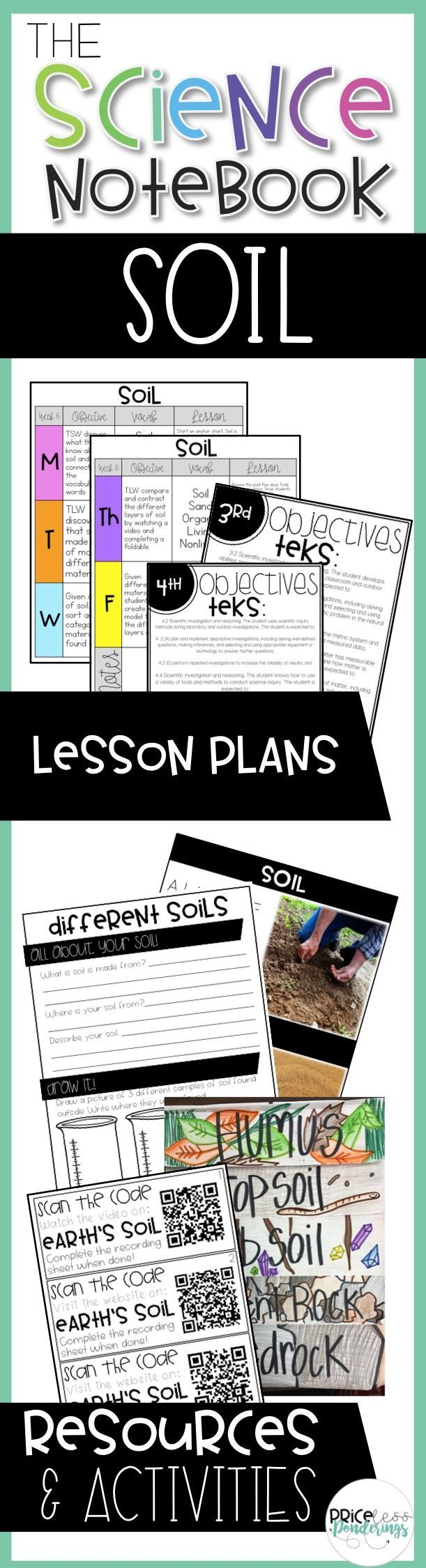 Soil lesson plans and resources to teach students about the layers and properties of soil. Resources include lesson plans, activities, labs, homework, early finisher activities, QR codes, AND SO MUCH MORE!