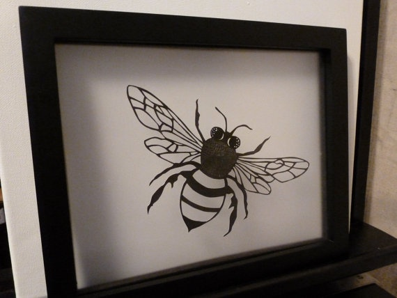 Bee Paper Cut - Reversible Original cut paper art 8 x 10 ...