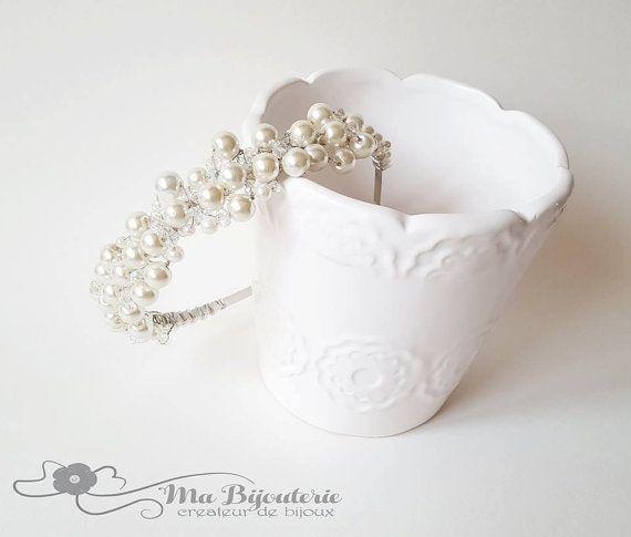 Ivory pearl crown Pearl headpiece Wedding headband by MaBijouterie