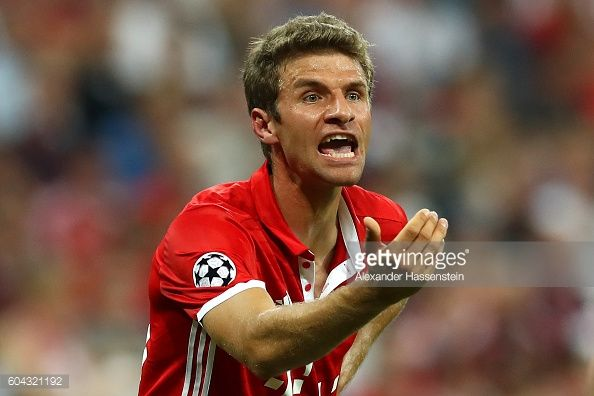 Thomas Mueller of Bayern Muenchen reacts during the UEFA Champions League Group D match between FC Bayern Muenchen and FC Rostov at Allianz Arena on...