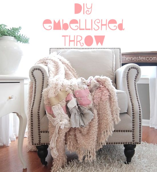 Super easy semi-handmade embellished throw