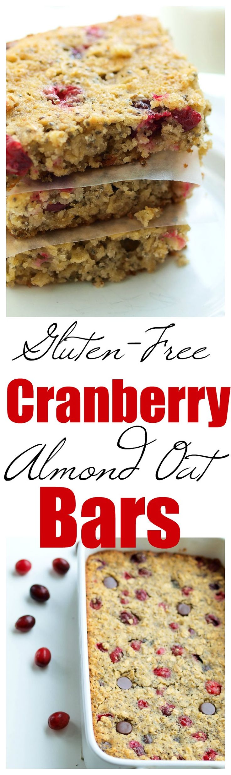 Cranberry Almond Oat Bars Recipe. These are healthy enough to eat for breakfast, but also make a great healthy dessert or snack. The whole family loves this gluten-free snack ideas #glutenfree #breakfast #snack #healthy #christmas