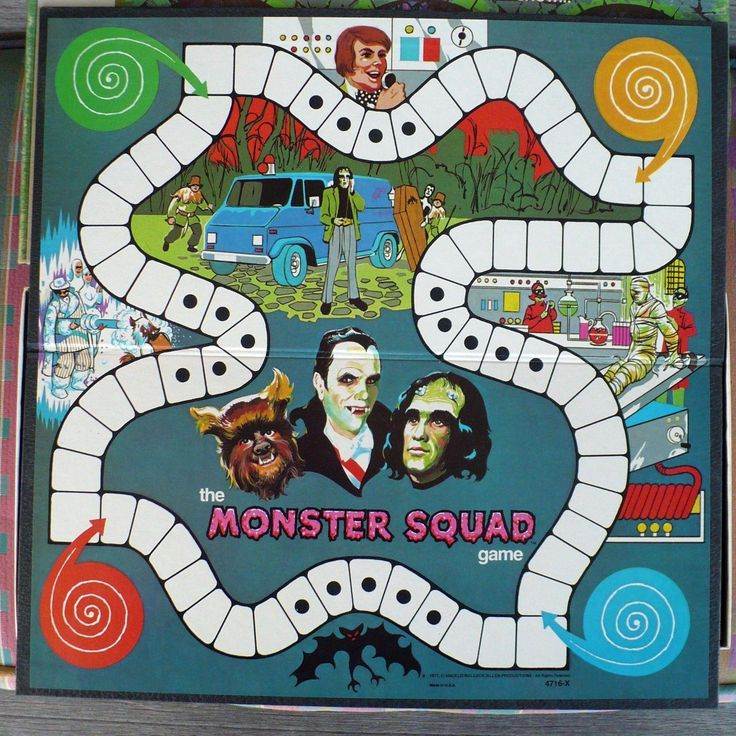 1977 MB MONSTER SQUAD GAME DRACULA,FRANKENSTEIN,WOLFMAN COMPLETE POPULAR TV SHOW