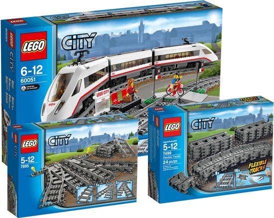 LEGO City Voordeelbundel - Hogesnelheidstrein 60051 + Wissels 7895 + Flexibele Rails 7499