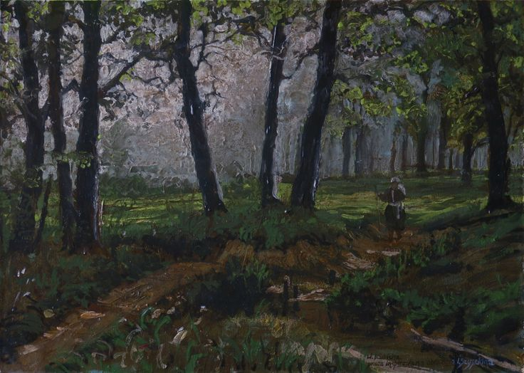 Picture inspired by the image of Ivan Shishkin. Acrylic & oil on panel. Author: Witold Kubicha