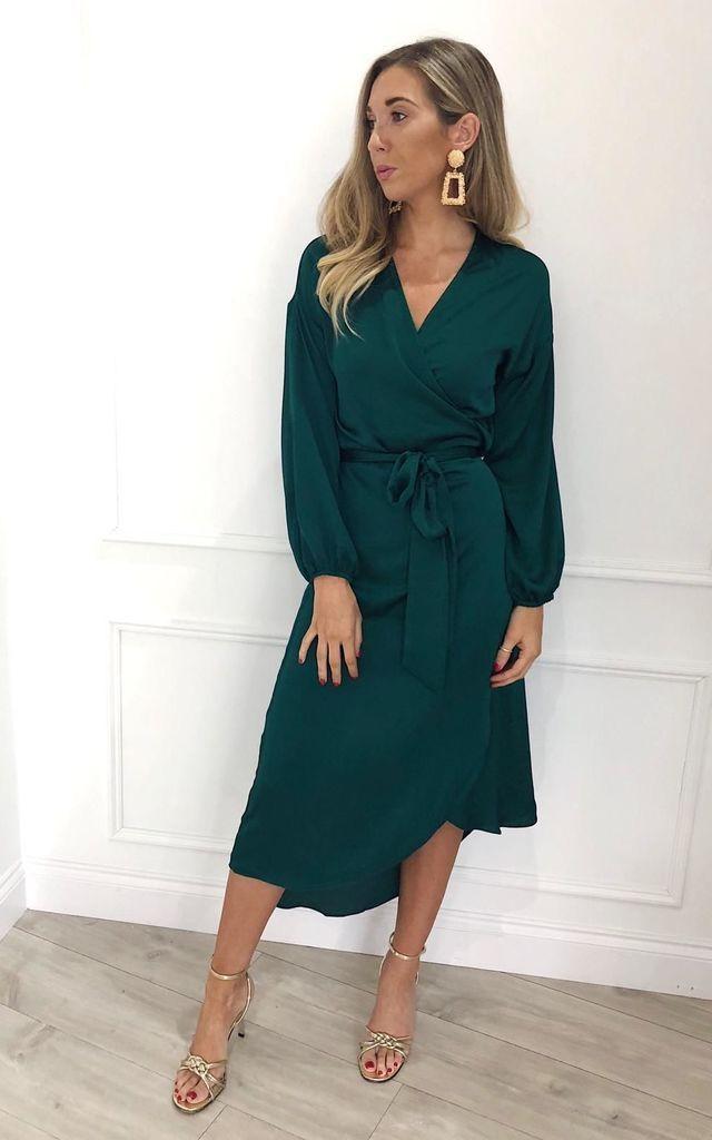 de3d8785356d5 Vienna Wrap Midi Dress Green By Pretty Lavish in 2019 | fashion ...