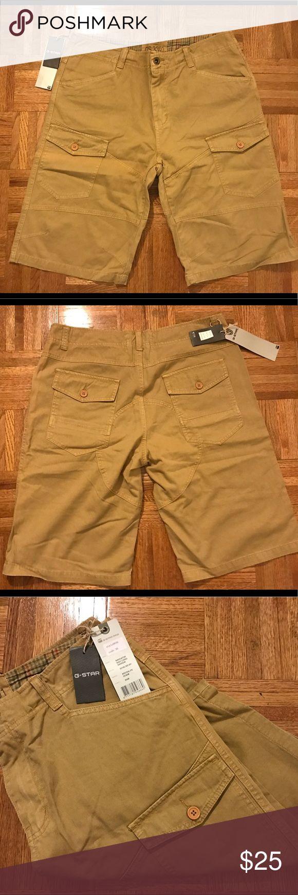 Men's G Star Raw cargo style shorts G Star Raw men's cargo style shorts NWT 36 waist 32 long chino fabric in raw khaki color G Star Raw Shorts