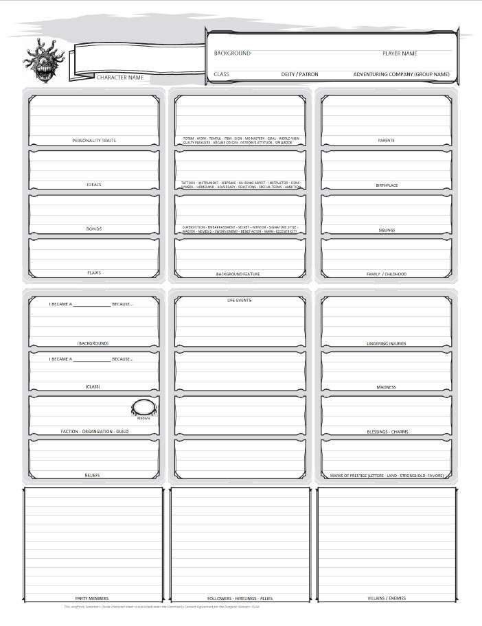 Xanathars Character Sheet Unofficial Dungeon Masters Guild