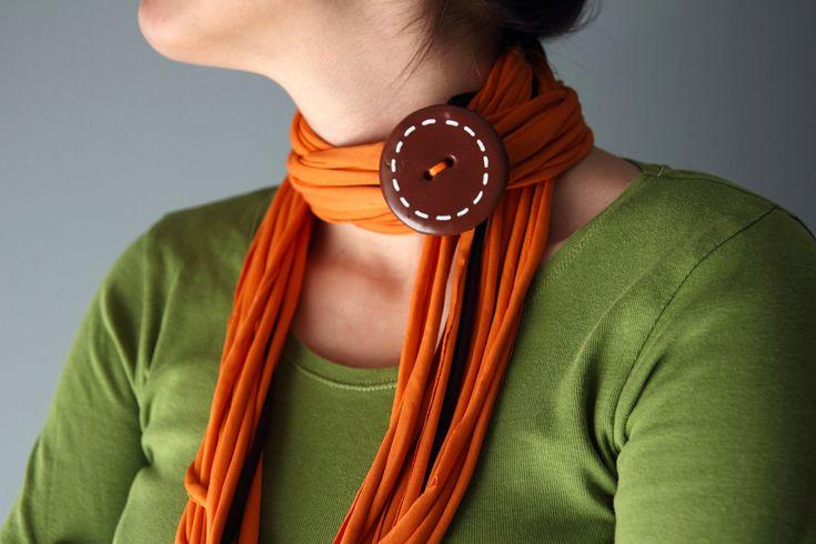 Loop SCARF NECKLACE in orange with brown brooch. $18.00, via Etsy.