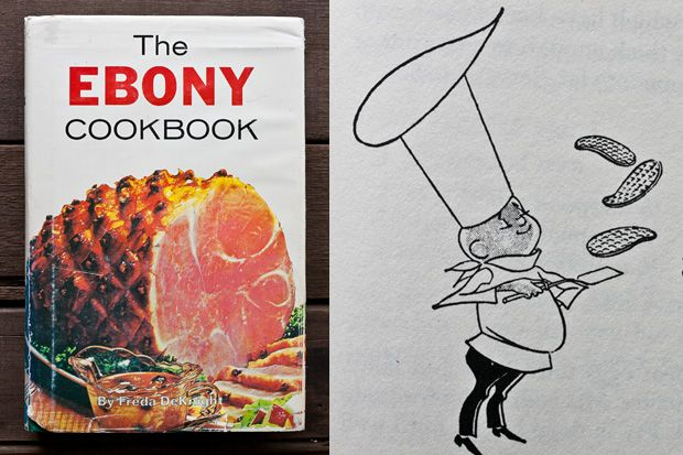 THE EBONY COOKBOOK, The Book That Helped Define Soul Food  |  In 1955, a Black woman couldn't get a cheese sandwich at a Woolworth lunch counter in Greensboro, North Carolina.  But if she had the book that would come to be known as The Ebony Cookbook, she could go home and make the ham-and-gravy Poor Boy sandwich beloved by the Delta Rhythm Boys, stars in the African-American music scene of the era.  (Author, DeKnight wrote from the persona of the Little Brown Chef, drawing on right)