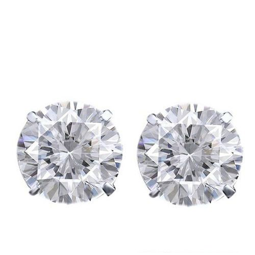 8 mm Round Cut Cubic Zirconia 18K White Gold Over Solitaire Stud Earrings $999 #AffinityFashionJewelry #Stud #EngagementWeddingAnniversaryValentines