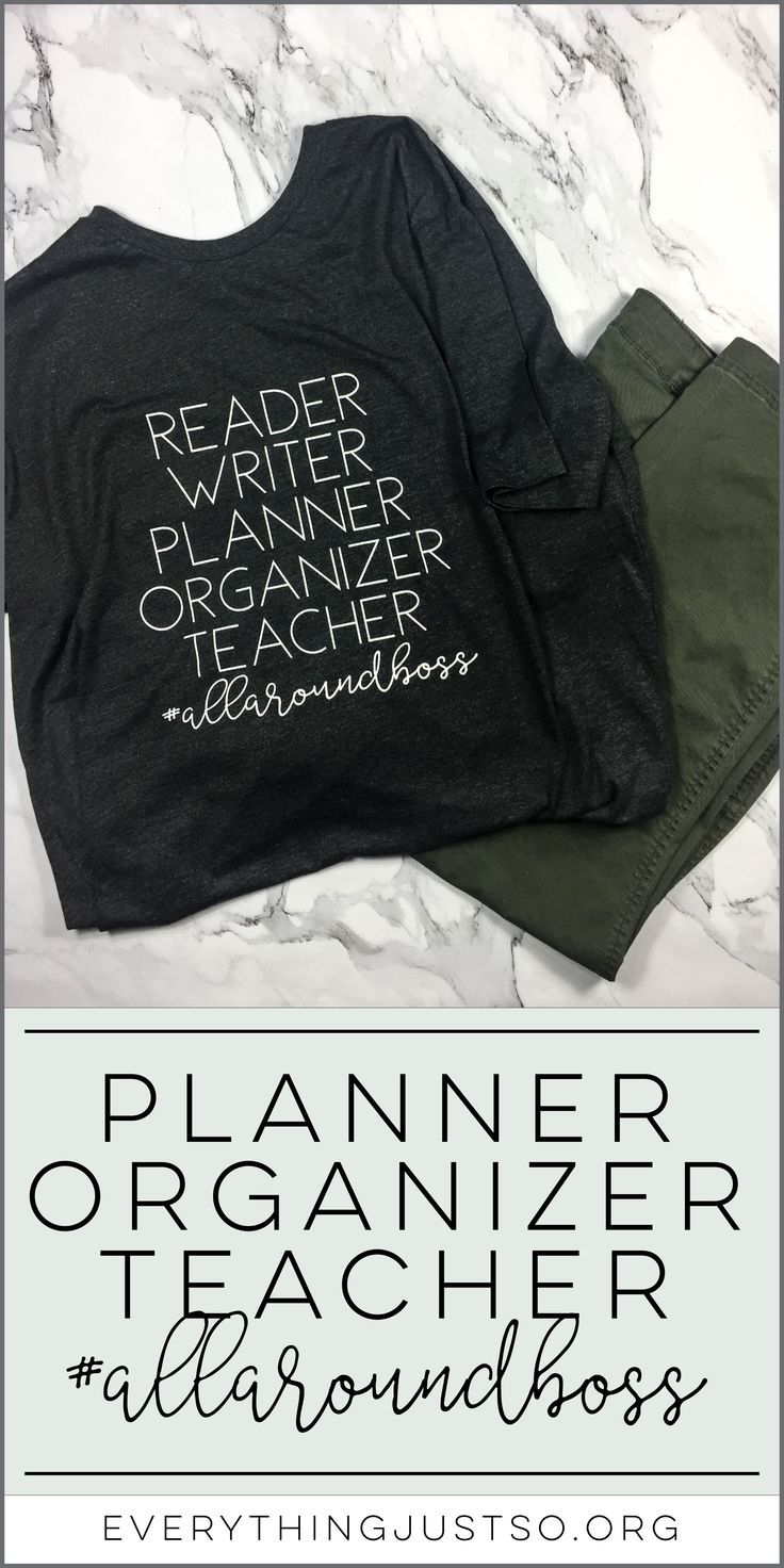 Reader Writer Planner Organizer Teacher allaroundboss T shirt