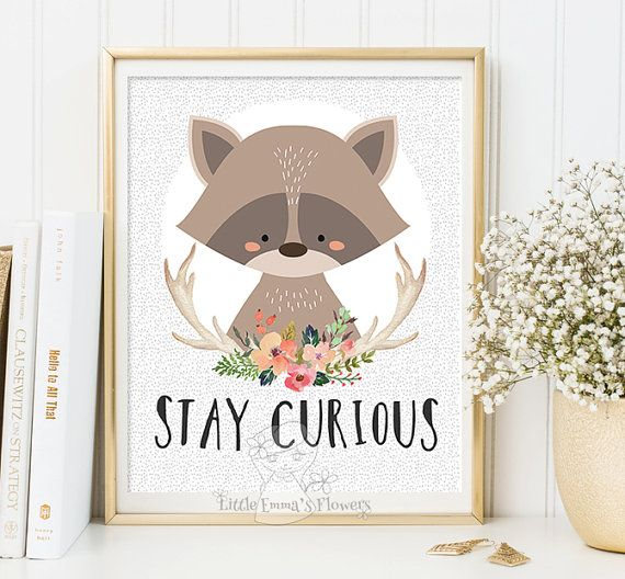 printable kids gift Stay curious Nursery by LittleEmmasFlowers