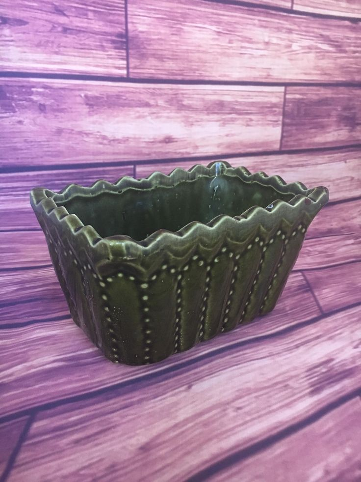 Cookson Pottery 746 USA Planter in Dark Green with Dotted design, garden decor, vintage planter, vintage garden, succulent planter, ceramic by TheDustyWingVintage on Etsy