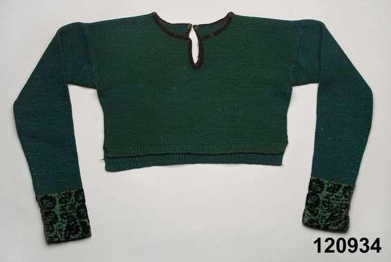 Spedetröja i ull med kantband av sammet; Bara, ca 1820-40. Nordiska Museet, nr. NM.0120934