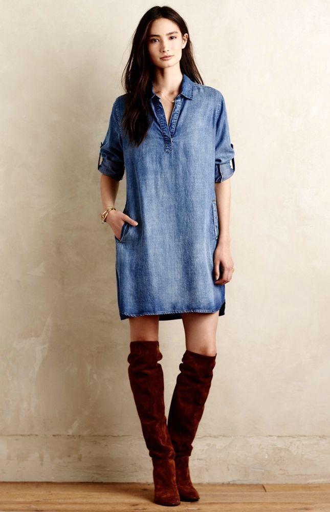 NEW Anthropologie Cloth & Stone tencel Adalie Denim Tunic Dress M $148 #ClothAndStone #offtheshouldertunic #Casual