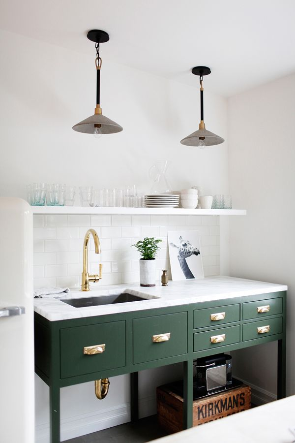 Her Paperweight Kitchen Design Green Cabinets Open Shelving Marble  Countertop